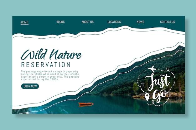 Webvorlage der wilden natur mit foto Kostenlosen Vektoren