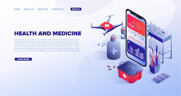 Webvorlage für den dienst der digitalen gesundheitstechnologie
