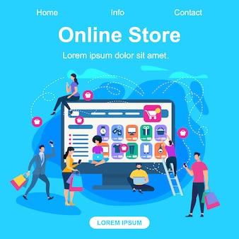 Webvorlage für die zielseite des online-shops
