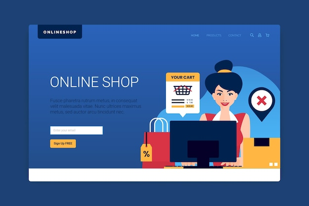 Webvorlage mit online-shopping-konzept