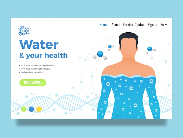 Webvorlage oder landingpage mit körper- und wasserseitenentwurf mit flacher vektorillustration der wasserfunktionen