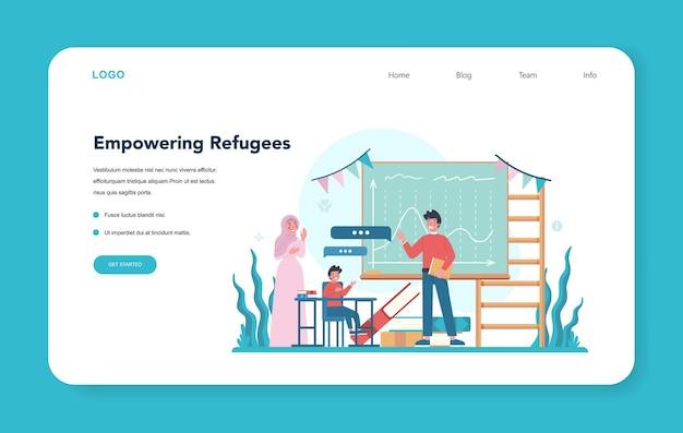 Webvorlage oder zielseite für soziale freiwillige. wohltätigkeitsgemeinschaft unterstützt und kümmert sich um menschen in not. idee von fürsorge und menschlichkeit. flüchtlinge stärken. isolierte vektorillustration