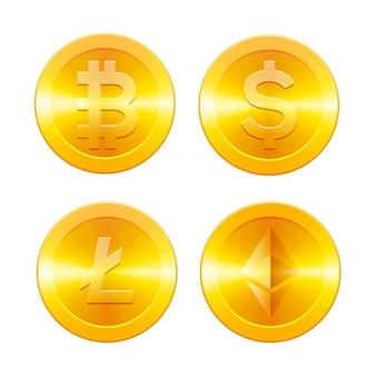 Wechselkurs von bitcoin zu dollar. kryptowährung. goldene münzen mit bitcoin- und dollarsymbol, illustration.
