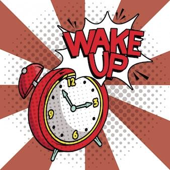 Wecker aufwachen pop-art-stil