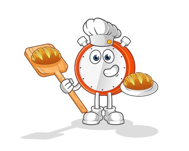 Wecker bäcker mit brot cartoon