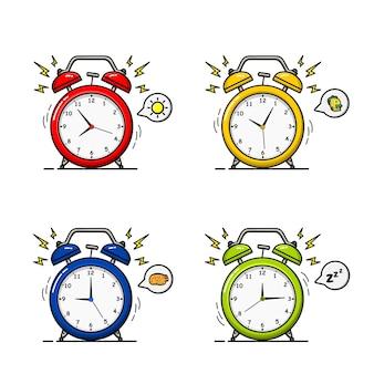 Wecker mit vier farbvarianten und bedingungen