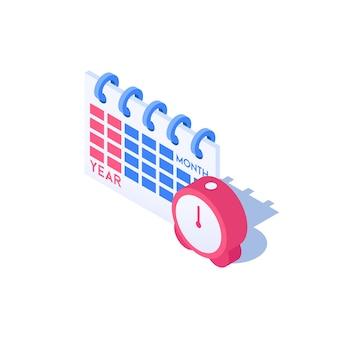 Wecker und kalendersymbol vektor-illustration im isometrischen stil isoliert auf weißem hintergrund