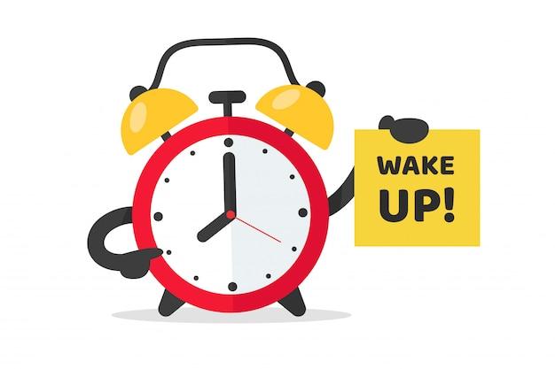 Wecker zum aufwachen zur arbeit. der rote weckervektor zeigt auf eine note, die aufwacht.