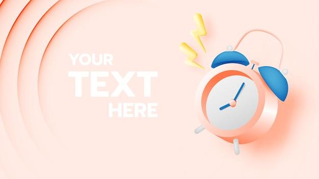 Wecker zum verkauf banner oder promotion in pastell farbschema hintergrund illustration