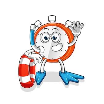 Weckerschwimmer mit bojenmaskottchen
