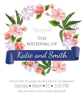 Wedding retten das Datum mit Blumenkranz, Rosen, Blüten und violettem Band. T