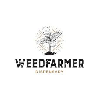 Weed farmer dispensary rustikale handgezeichnete logo-vorlage