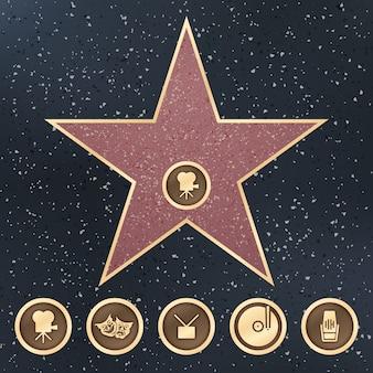 Weg des ruhmesstern-granitzeichens auf bürgersteig mit kategorienvektor der hollywood-filmakademie