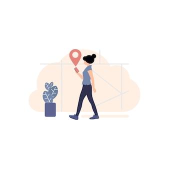 Wegbeschreibung auf dem handy-symbol, gps-tracker-symbol, pin-symbol abbildung, karte auf dem handy, locator-karte, ratschläge, zielen, zeigen