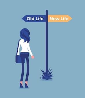 Wegweiser pfosten, um eine frau, alte und neue lebensentscheidung zu leiten. junge menschen, die sich für eine straße entscheiden, einen anderen weg beginnen, an die entscheidung denken, ihren lebensstil zu beginnen und zu ändern, werden anders. vektor-illustration Premium Vektoren