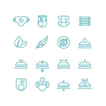 Wegwerfbabywindel und eigenschaftslinie ikonen. saugfähige hygieneprodukte für kleinkinder mit inkontinenzset