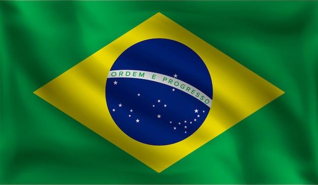 Wehende brasilianische flagge, die flagge von brasilien