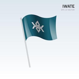 Wehende flagge der präfekturen iwate von japan isoliert auf grauem hintergrund