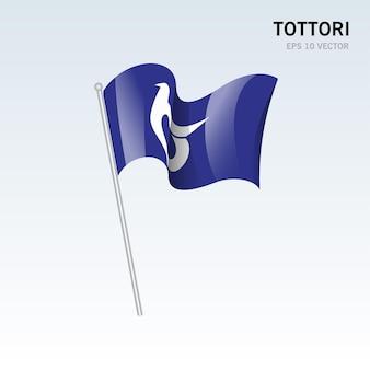 Wehende flagge der präfekturen tottori von japan isoliert auf grauem hintergrund