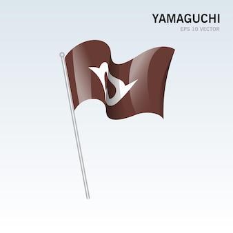 Wehende flagge der präfekturen yamaguchi von japan isoliert auf grauem hintergrund