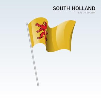 Wehende flagge der provinzen südholland der niederlande isoliert auf grauem hintergrund