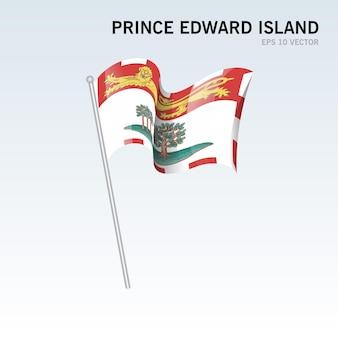Wehende flagge der provinzen von prince edward island in kanada isoliert auf grauem hintergrund