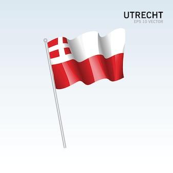 Wehende flagge der provinzen von utrecht in den niederlanden auf grauem hintergrund isoliert