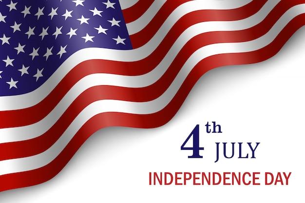 Wehende flagge der vereinigten staaten von amerika