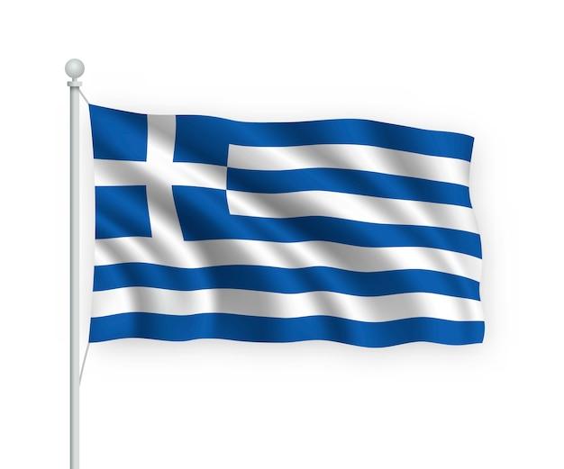 Wehende flagge griechenland auf fahnenmast isoliert auf weiß