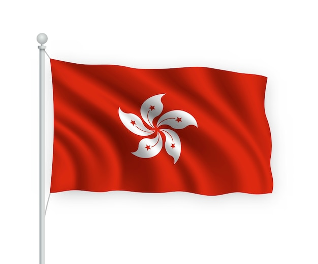 Wehende flagge hong kong auf fahnenmast isoliert auf weiß