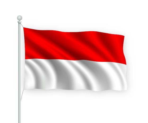 Wehende flagge indonesien auf fahnenmast isoliert auf weiß