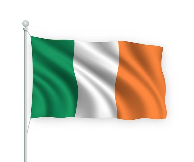 Wehende flagge irland auf fahnenmast isoliert auf weiß