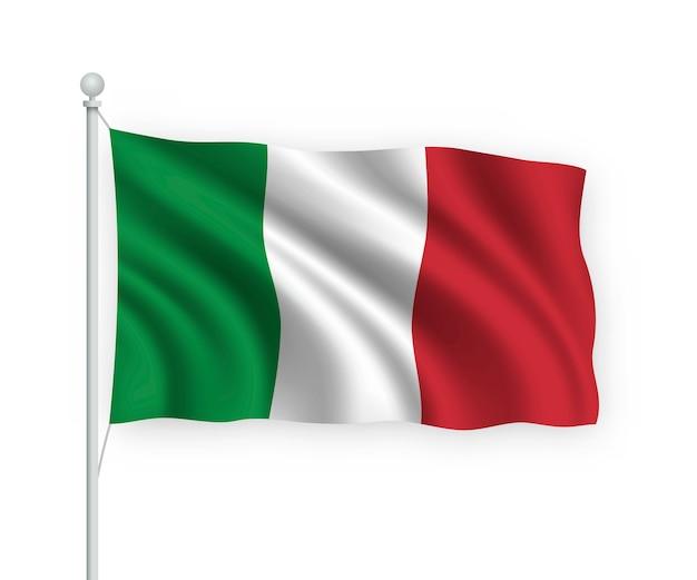 Wehende flagge italien auf fahnenmast isoliert auf weiß