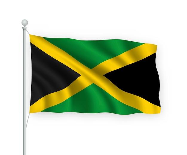 Wehende flagge jamaika auf fahnenmast isoliert auf weiß