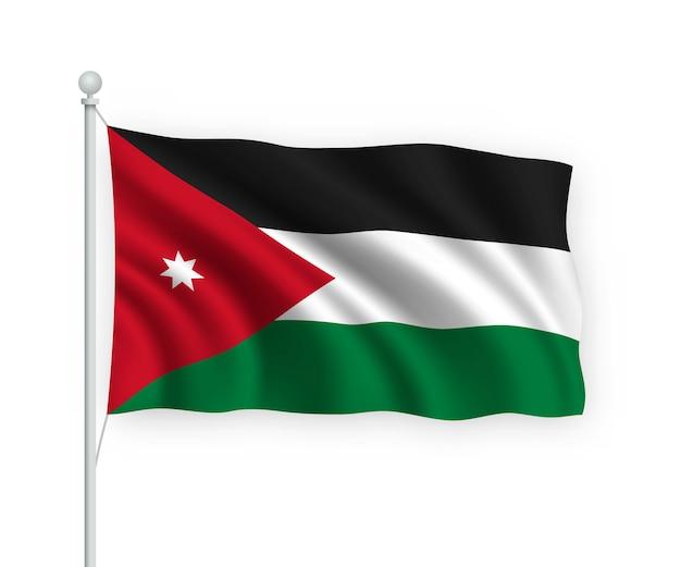 Wehende flagge jordanien auf fahnenmast isoliert auf weiß