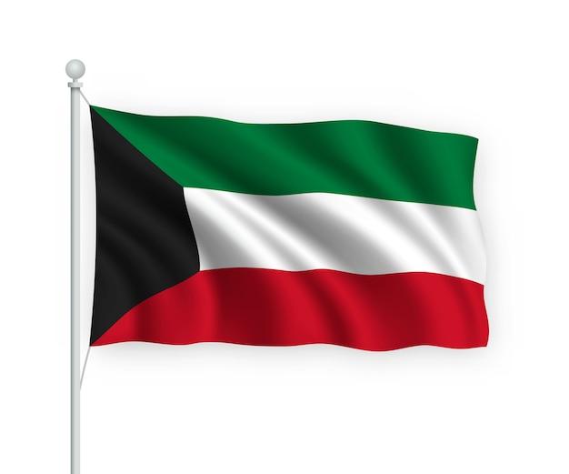 Wehende flagge kuwait auf fahnenmast isoliert auf weiß
