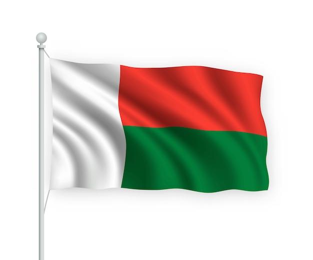 Wehende flagge madagaskar auf fahnenmast isoliert auf weiß