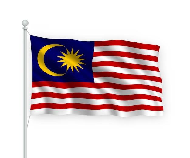 Wehende flagge malaysia auf fahnenmast isoliert auf weiß