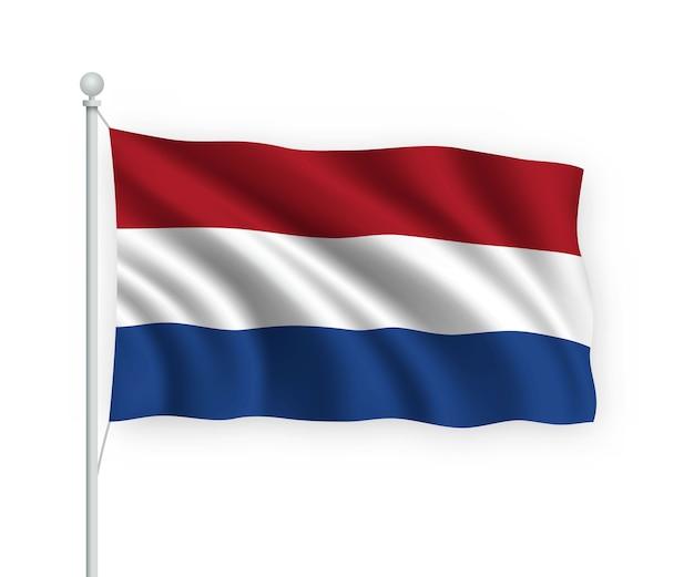 Wehende flagge niederlande auf fahnenmast isoliert auf weiß