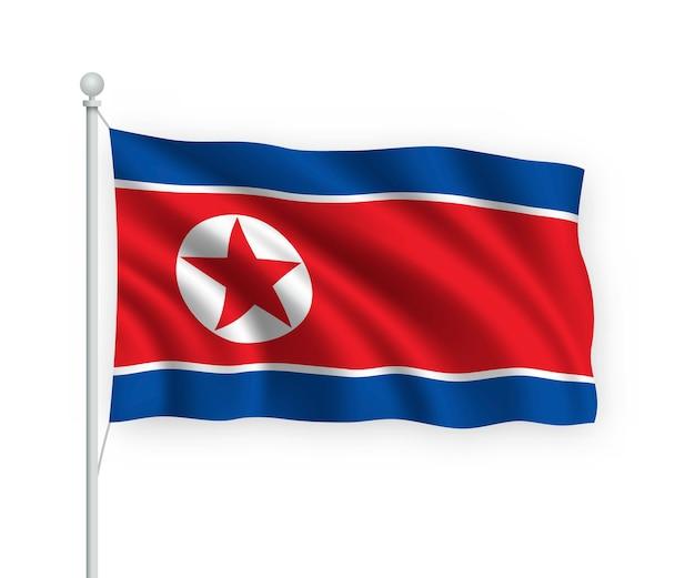 Wehende flagge nordkorea auf fahnenmast isoliert auf weiß