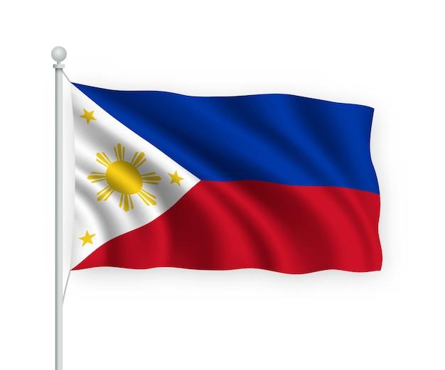 Wehende flagge philippinen auf fahnenmast isoliert auf weiß