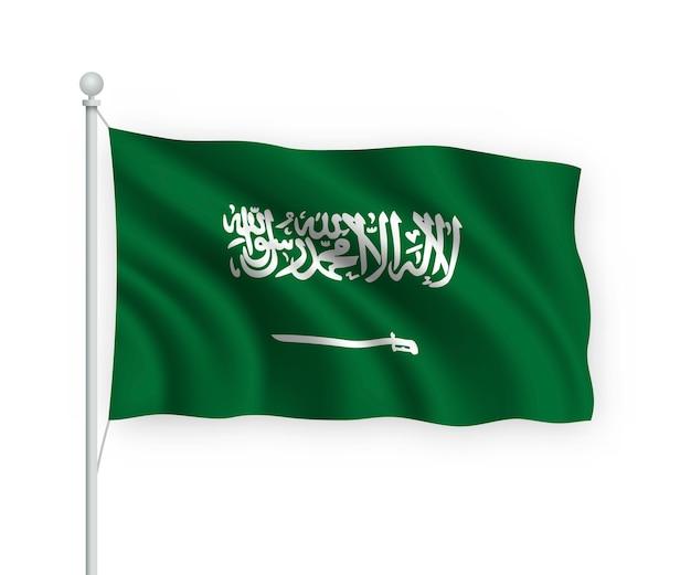 Wehende flagge saudi-arabien auf fahnenmast isoliert auf weiß
