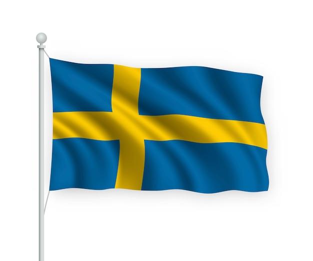 Wehende flagge schweden auf fahnenmast isoliert auf weiß