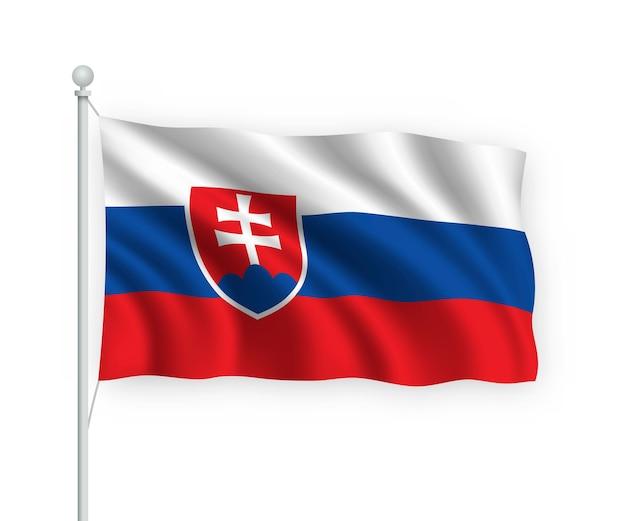 Wehende flagge slowakei auf fahnenmast isoliert auf weiß