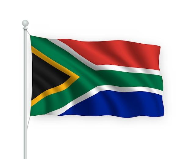 Wehende flagge südafrika auf fahnenmast isoliert auf weiß