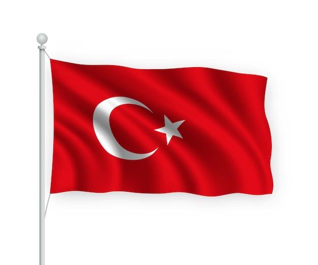 Wehende flagge türkei auf fahnenmast isoliert auf weiß
