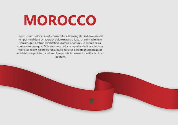 Wehende flagge von marokko banner