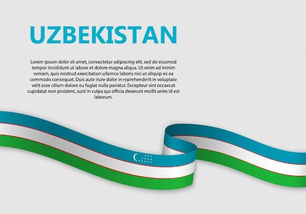 Wehende flagge von usbekistan banner