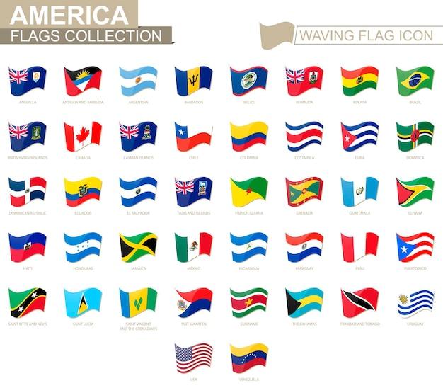 Wehende flaggensymbol, flaggen von amerika-ländern alphabetisch sortiert. vektor-illustration.