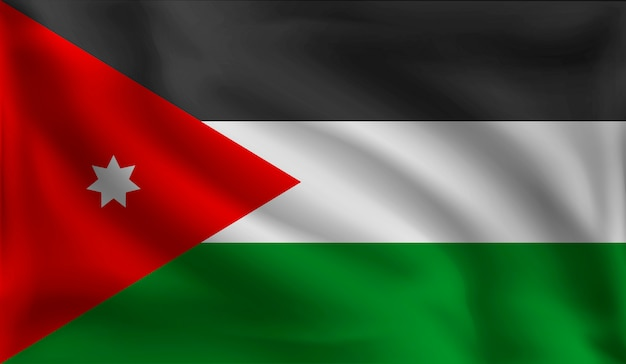 Wehende jordanische flagge, die flagge von jordanien